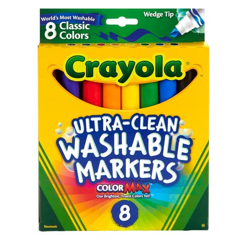 Wedge Tip 8 Ct Washable Markers