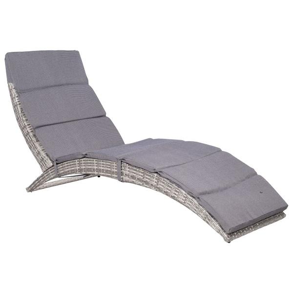 "vidaXL Folding Sun Lounger with Cushion Poly Rattan Gray - 62.6"" x 22.4"" x 29.9"""