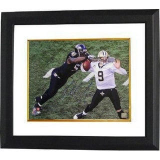 Terrell Suggs signed Baltimore Ravens 16x20 Photo Custom Framed sacking Drew Brees