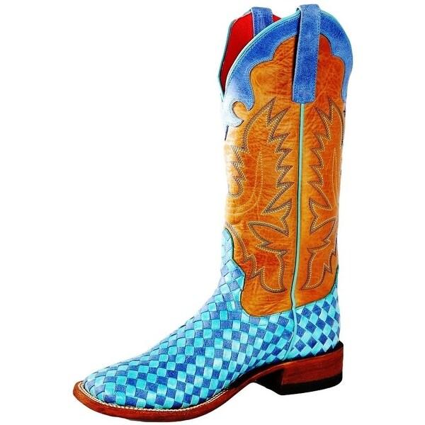 Macie Bean Western Boots Womens Turbulence Weave Check Blue