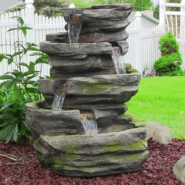 Sunnydaze Electric Lighted Cobblestone Waterfall Fountain