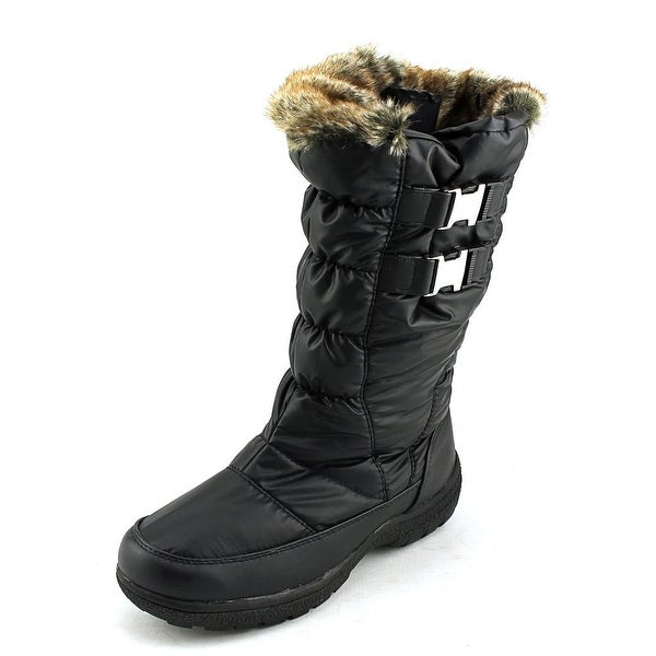 Weatherproof Becky Women Round Toe Canvas Black Snow Boot