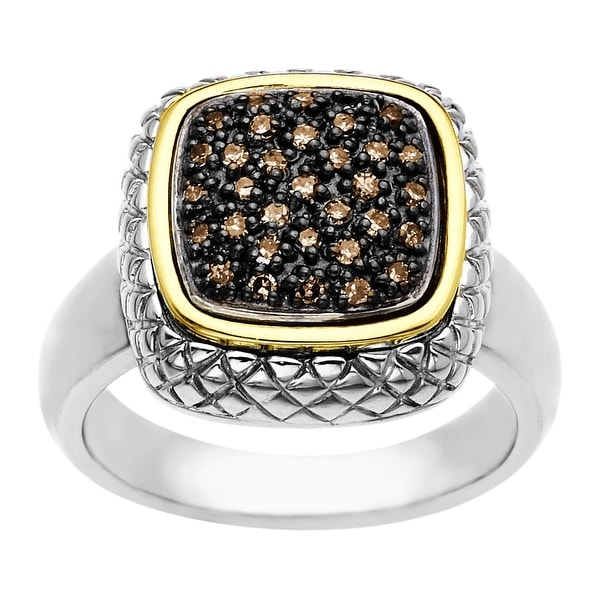 1/4 ct Brown Diamond Cushion Ring in Sterling Silver & 14K Gold