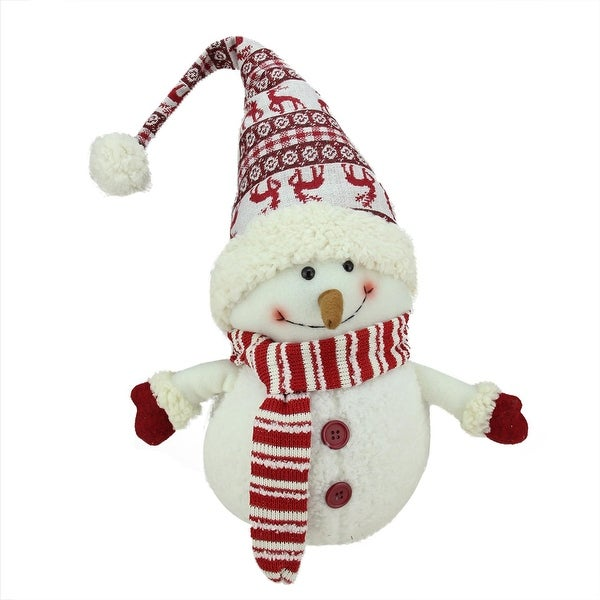 "24"" Ivory, Red and White Chubby Smiling Snowman with Reindeer Hat Plush Table Top Christmas Figure"