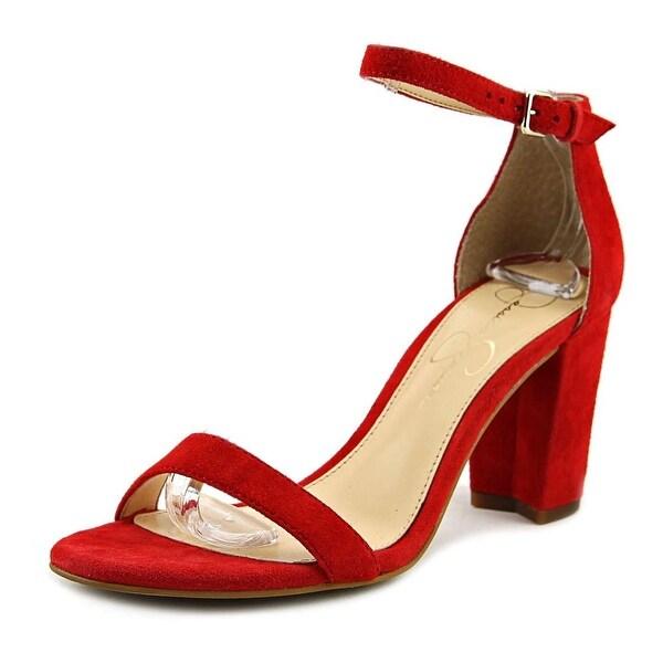 Jessica Simpson Monrae Women Open-Toe Suede Red Heels