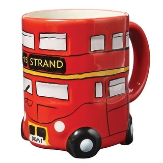 "Red Double-Decker Bus Ceramic Mug - 4"" High - 10 Ounce Coffee Cup"