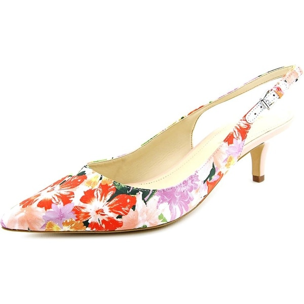 Marc Fisher Tiffani6 Women Pointed Toe Canvas Multi Color Slingback Heel