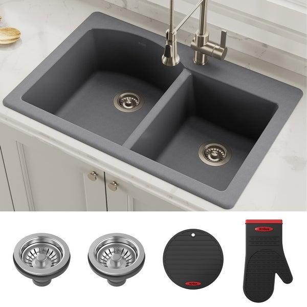 Kraus Quarza Granite 33 Inch 60 40 Undermount Drop In Kitchen Sink Overstock 20678356