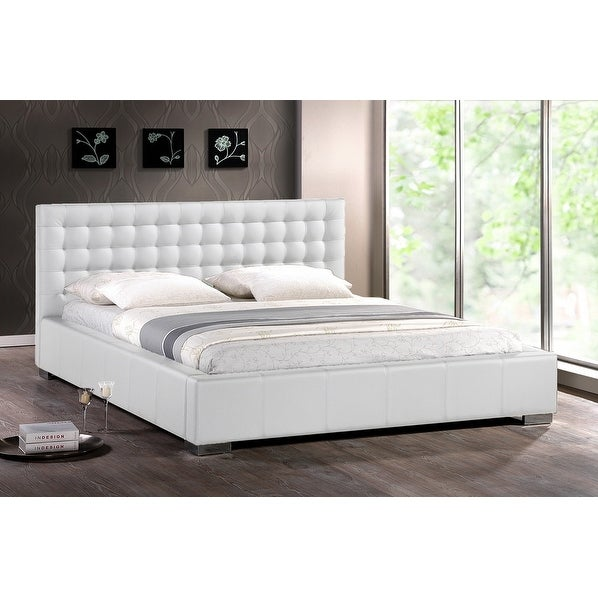 Madison White Faux Leather Platform Bed W Upholstered Headboard King