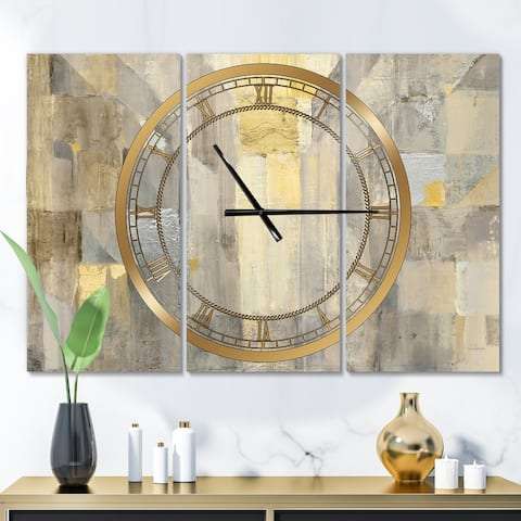 Designart 'Gold Square Watercolor' Glam 3 Panels Oversized Wall CLock - 36 in. wide x 28 in. high - 3 panels