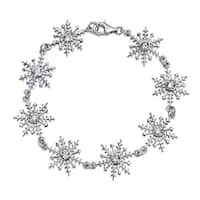 Bling Jewelry CZ Round Bezel Setting Snowflake Bracelet Sterling Silver