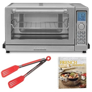 Cuisinart TOB-135 Deluxe Convection Toaster Oven Broiler (Certified Refurbished) Bundled w/ Cookbook and Tongs