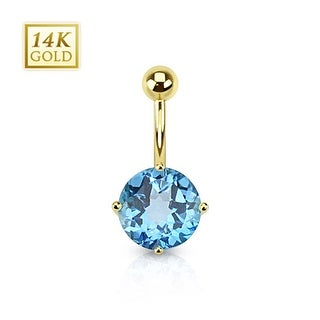 14 Karat Solid Yellow Gold Swiss Blue Topaz Gemstone Round Prong Set Navel Belly Button Ring