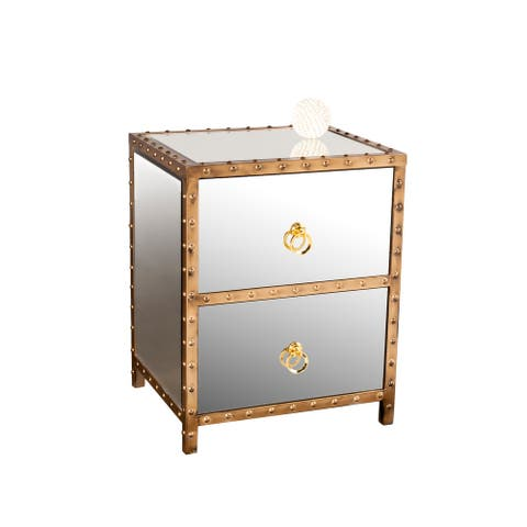 Nightstand Metal and Mirror With Mdf, Two Drawer