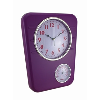 Bright Purple Wall Clock With Temperature Display - 12.5 X 9.75 X 1.5 inches