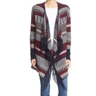 Autumn Cashmere NEW Red Women's Size Medium M Fringe Fair Isle Sweater