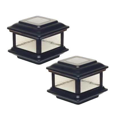Classy Caps 4x4 Black Aluminum Colonial Solar Post Cap (Set of 2)