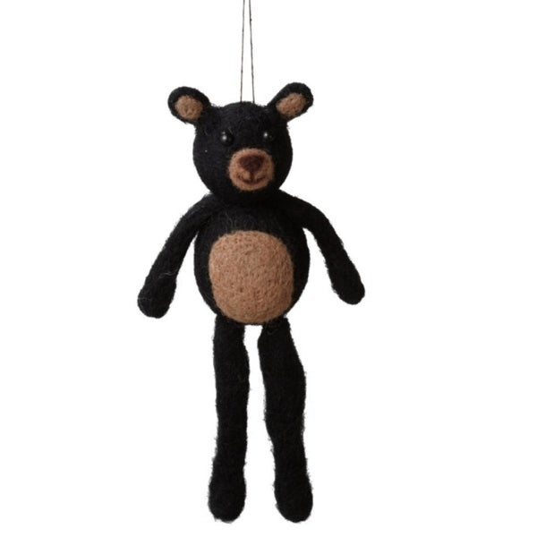 "7.25"" Black and Brown Felted Wool Stuffed Animal Bear Christmas Figure Ornament"