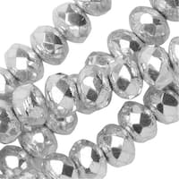 Czech Fire Polished Glass, Donut Rondelle Beads 3.5x5mm, 50 Pieces, Crystal Labrador