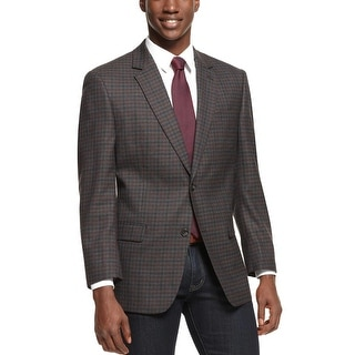 Shaquille O'Neal Bold Check Wool Sportcoat 46 Regular 46R Grey and Black