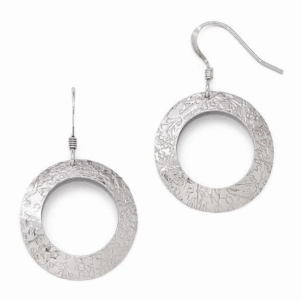 Sterling Silver Textured Shepherd Hook Dangle Earrings