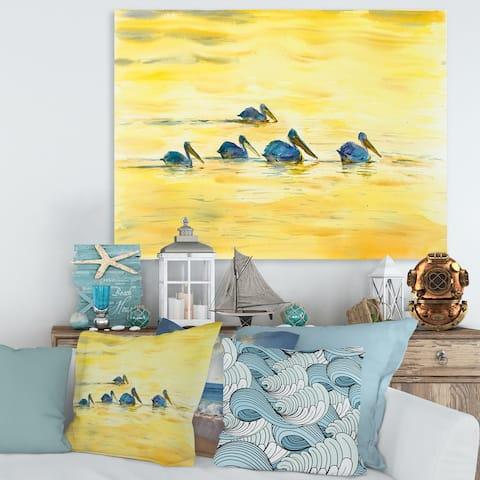 Designart 'Pelicans On The Yellow River' Farmhouse Canvas Wall Art Print