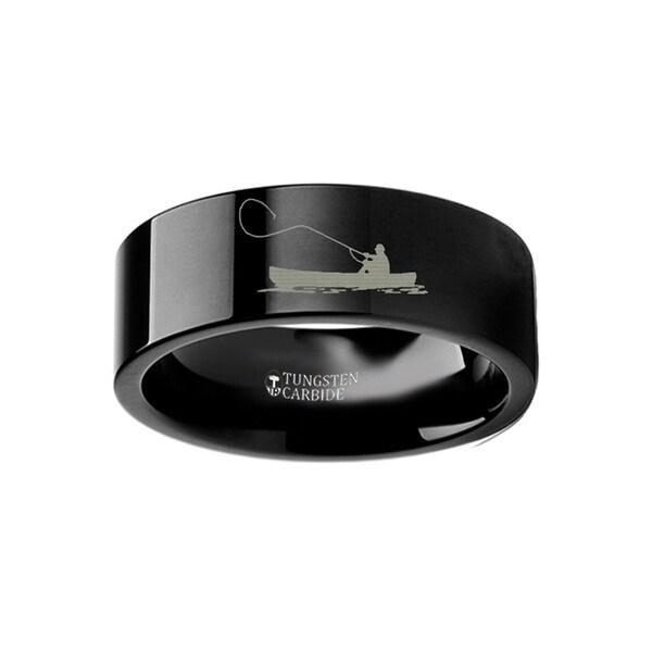 THORSTEN - Hunting Landscape Scene Fishing Boat Fishermen Fish Ring Engraved Flat Black Tungsten Ring - 12mm