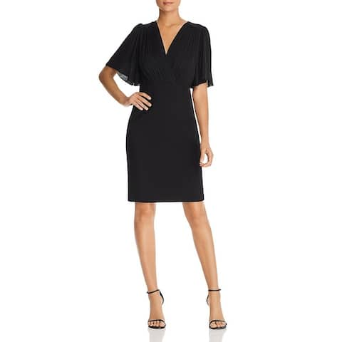 Elie Tahari Womens Tavara Cocktail Dress Puff Sleeve V-Neck - Black