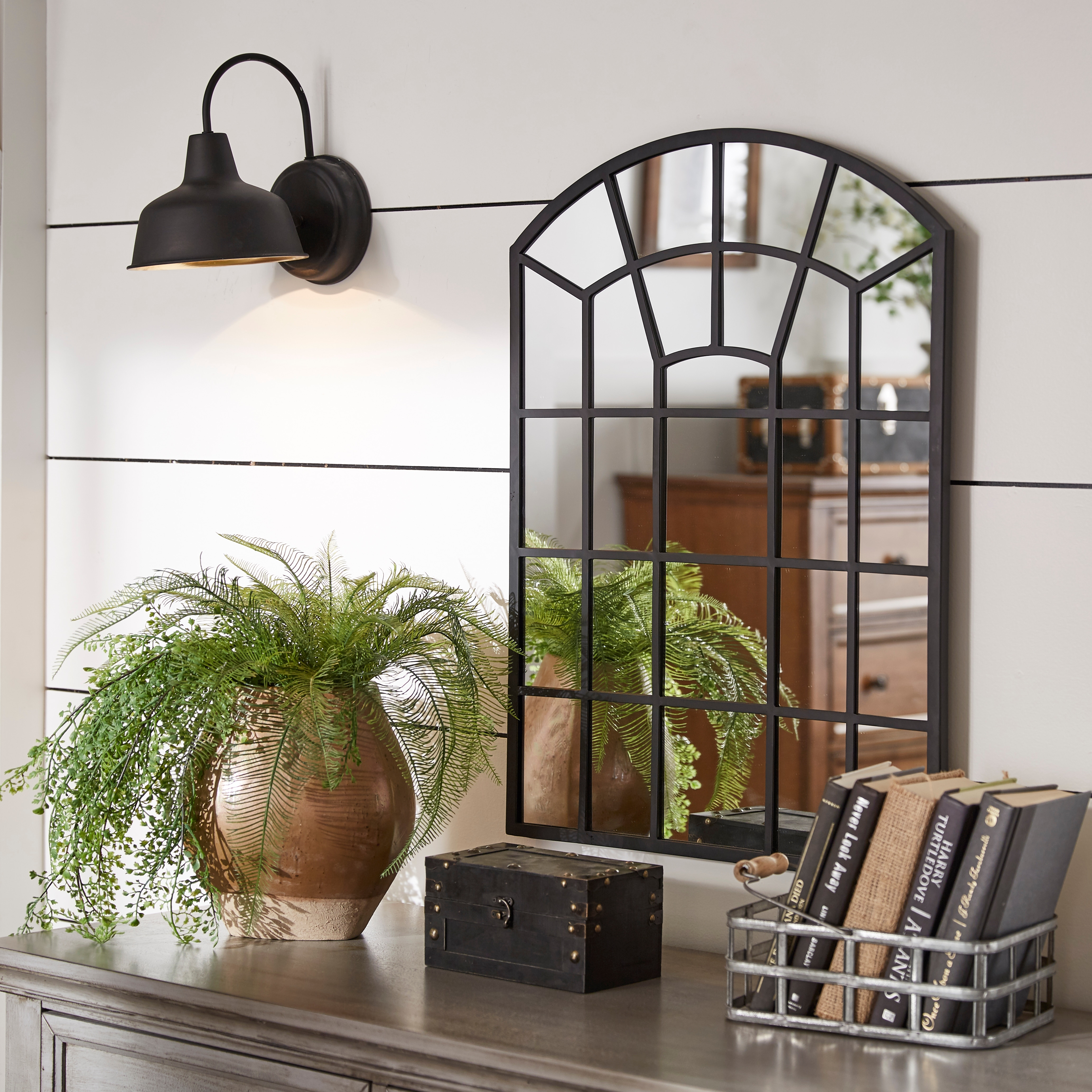 Shop Black Friday Deals On Surise Metal Arched Windowpane Wall Mirror By Inspire Q Modern Overstock 26565535