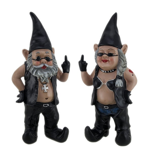 Gnoschitt U0026amp; Gnofun The Naughty Biker Gnomes Statue Motorcycle Leather  ...