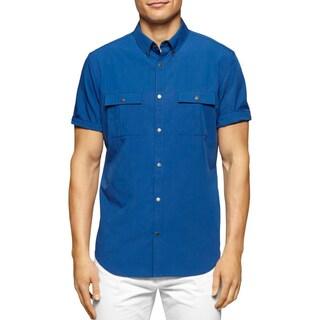 Calvin Klein Mens Big & Tall Casual Shirt Two Pocket Short Sleeves
