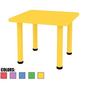 2xhome Adjustable Height Kids Plastic Activity Table Metal Leg Square Desk Dining Bedroom Kitchen Toddler Child Preschool Yellow