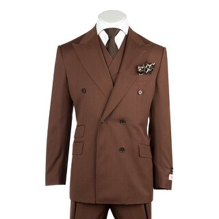 Tiglio Rosso EST Saddle Brown Wide Leg, Pure Wool Suit & Vest R899612/4503