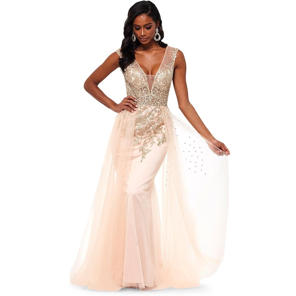 Xscape Womens Formal Dress Sparkle Embroidered - Blush/Gold - 2