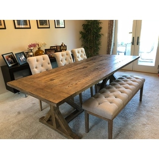 Shop Paloma Rustic Reclaimed Wood Rectangular Trestle Farm Table By INSPIRE  Q Artisan   On Sale   Free Shipping Today   Overstock.com   11960213