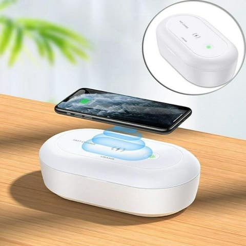 UV-C Sterilization Box Universal Smartphone Fit, Aroma Therapy Diffuser, and Wireless Charging Lid