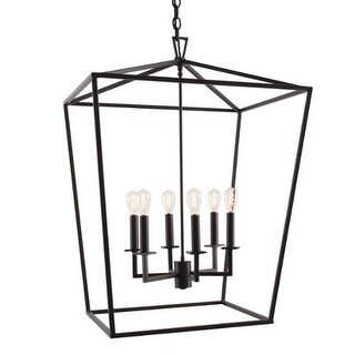 "Norwell Lighting 1082 Cage 6 Light 24"" Wide Candle Style Chandelier with Steel C"
