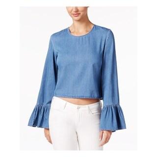 BUFFALO Womens Blue Long Sleeve Jewel Neck Top  Size XS