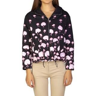 Prada Women's Nylon Floral Print Jacket Black