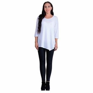 Women's Tunic Top - Asymmetrical Hem 3/4 Sleeve Scoop Neck Shirt