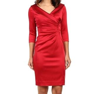 Tahari by ASL NEW Red Womens Size 4 Portrait-Collar Sheath Dress