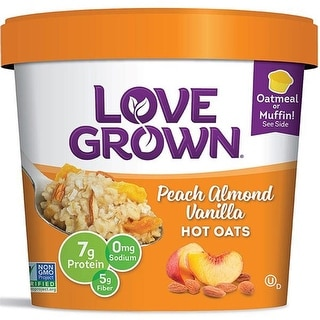 Love Grown Foods - Almond Vanilla Peach Hot Oats ( 8 - 2.22 oz boxes)