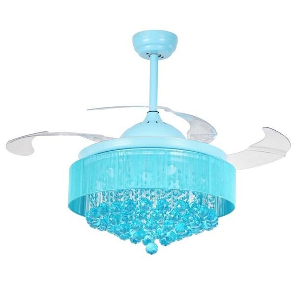 Shop 42 inch retractable 4 blades crystal fandelier - Fan with retractable blades ...