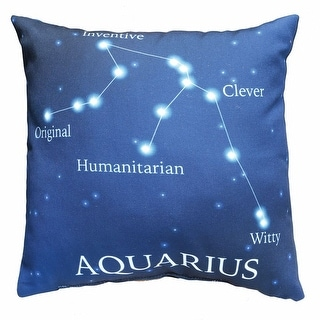 Horoscope Navy Blue Decorative Throw Pillow - Aquarius