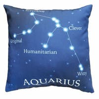 Horoscope Navy Blue Decorative Throw Pillow - Aquarius