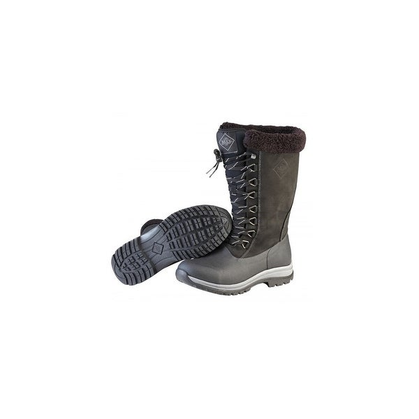 Muck Boots Black/Charcoal Women's Arctic Apres Lace Tall Boot - Size 6
