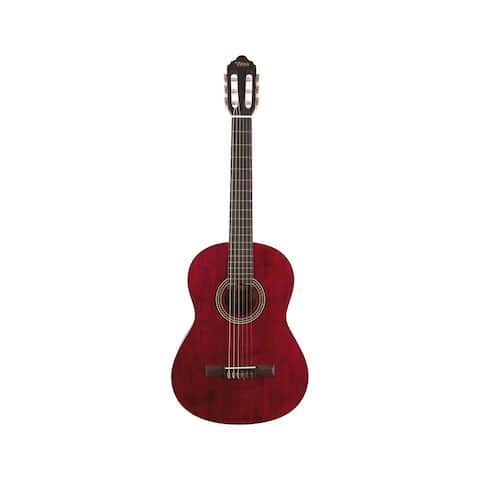 Valencia Guitar 200 Classical Full Size Acoustic Trans Wine Red