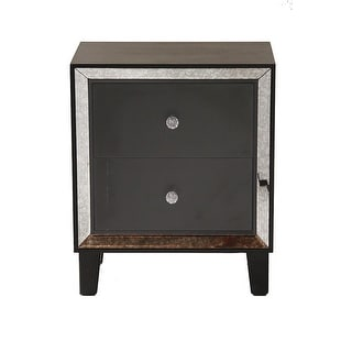 2-Drawer End Table W/ Antiqued Mirror Accents - Mdf, Wood Mirrored Glass In Black