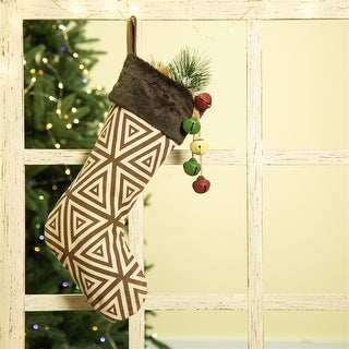 """Link to Glitzhome 20""""L Christmas Stocking w/Faux Fur Cuff Similar Items in Christmas Decorations"""