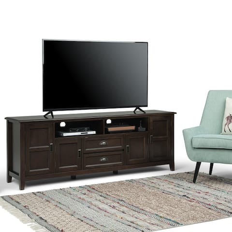 WYNDENHALL Portland SOLID WOOD 72 inch Wide Transitional TV Media Stand For TVs up to 80 inches - 72 inch Wide